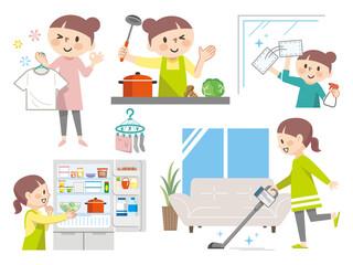家事をする主婦のイラストレーションのセット