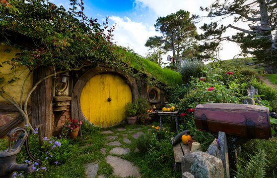 MATAMATA- NEW ZEALAND -APRIL -19- 2019 : Hobbit house with yellow door, hobbiton movie set, site made for movies: Hobbit and Lord of the ring in Matamata, north island of New Zealand
