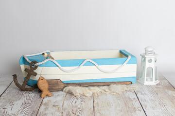 Obraz wooden boat newborn digital prop - fototapety do salonu