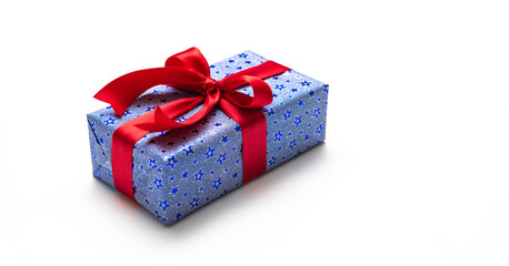 Blue gift box with red ribbons isolated on white background