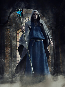 Dark chapel with a creepy looking necromancer with a long mage staff and a hooded robe. 3D render.  The man is a 3D object.