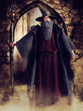 Fantasy scene with an old wizard standing in front of a stone garden gate. 3D render. The man is a 3D object.