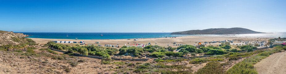 Panoramic view of Prasonisi beach on the south of Rhodes Island (Greece)