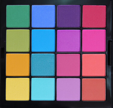 Colorful Pressed Pigment Palette Bright Rainbow Colors