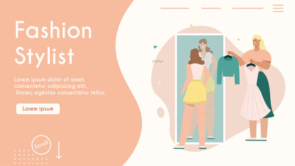 Vector banner of fashion stylist concept, shopping