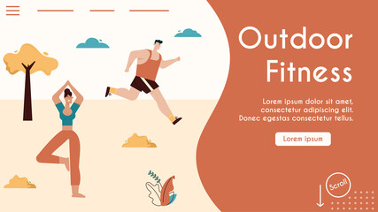 Vector banner illustration of outdoor fitness, sports activity