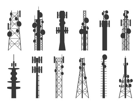 Radio tower silhouettes. Transmission cellular towers, television and broadcasting antenna, satellite signal telecom masts vector set