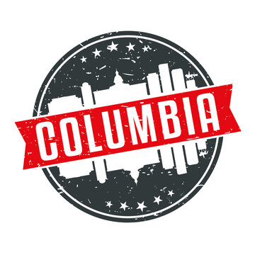 Columbia South Carolina Round Travel Stamp Icon Skyline City Design.