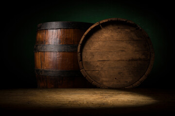 Wall Mural - Wooden barrel on a table and textured background