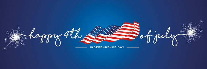 4th of july Happy Independence day handwritten typography text USA wavy flag blue background banner