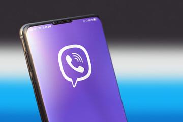 KYIV, UKRAINE-JUNE, 2020: Viber Mobile Application on the Smart Phone Screen. CloseUp Studio Shot of Smartphone with Viber Application.