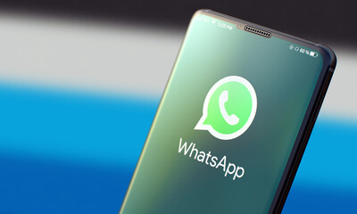 KYIV, UKRAINE-JUNE, 2020: Whatsapp. Studio Shot of Mobile Phone with Whatsapp Mobile Application on Blurred Back.