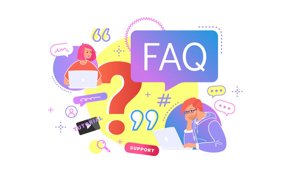 Young teenagers sitting with laptop and having questions. Flat vector illustration of two students need a professional help or community faq. People waiting hepldesk service or watching video tutorial