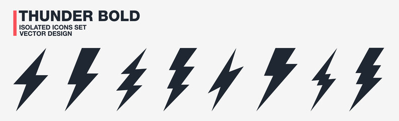 Thunder bolt lightning flash icons set vector. Isolated black design symbols on transparent background. Electric thunderbolt signs. Abstract concept dangerous and power illustration