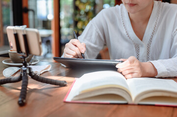 Asian student online learning and education at home. Social Distancing and New normal lifestyle