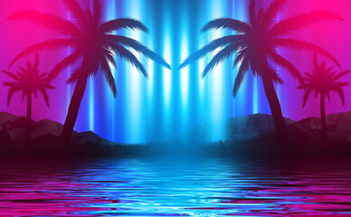 Poster Palmier Silhouettes of tropical palm trees on a background of abstract background with neon glow. Reflection of palm trees on the water. 3d illustration
