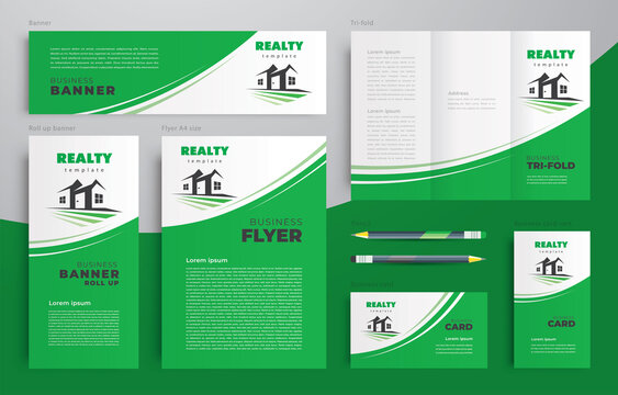Realty House building country home theme Set flyer cover, tri-fold, banner, roll up banner, business card