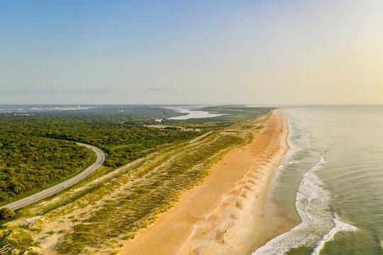 Aerial view of a pristine Florida coastline