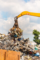 Close-up of a crane for recycling metallic waste