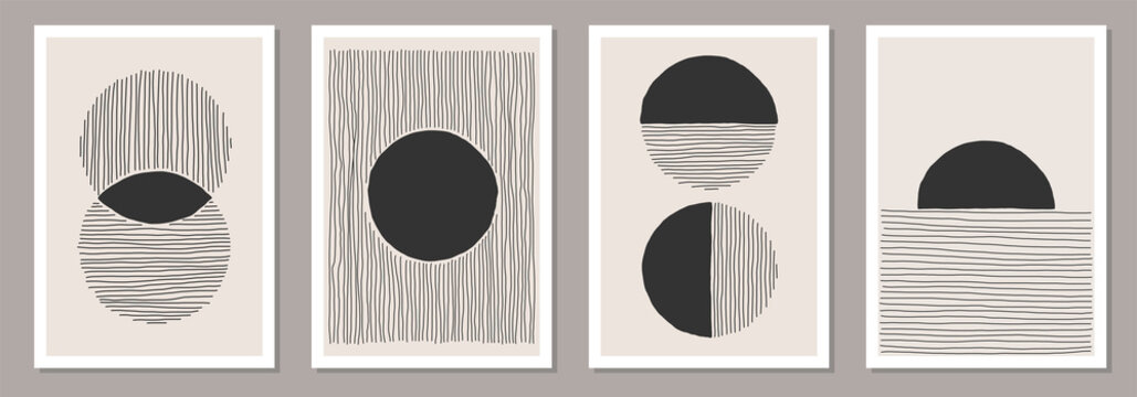 Trendy set of abstract creative minimalist artistic hand painted compositions