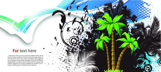 Foto op Plexiglas Vlinders in Grunge Summer vector Illustration