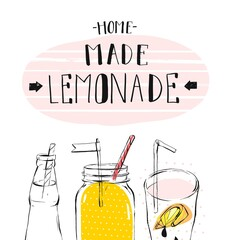 hand drawn vector abstract summer time illustration with lemonade detox glass jar bottle,lemon slice and handwritten modern calligraphy quote Home Made Lemonade isolated on white background.Sign,logo.