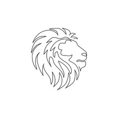 Fototapeta One single line drawing of wild lion head for company business logo identity. Strong wildcat mammal animal mascot concept for national conservation park. Continuous line draw design illustration