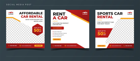 Rent a car banner for flyer and social media post template
