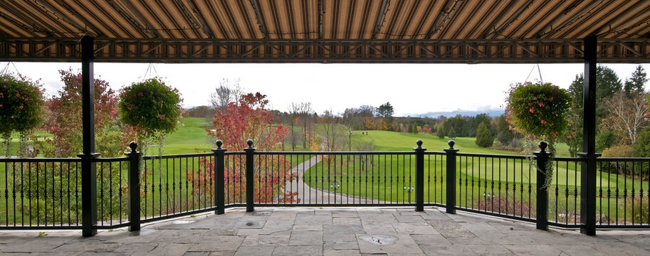 Panoramic view of a golf country club in autumn