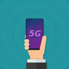 Smartphone 5G à la main (flat design)