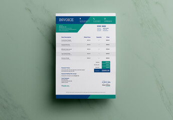 Corporate Invoice Layout with Blue Accents