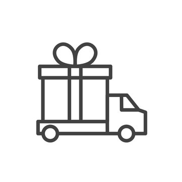 Linear delivery truck with gift box outline icon. Vector illustration.