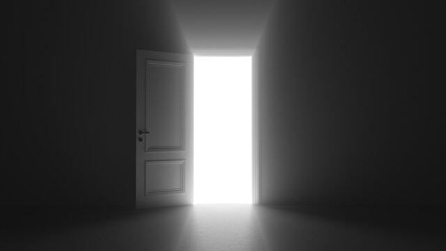 3d render open door shine in dark room