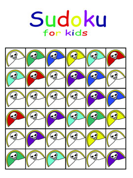 Coloring simple children sudoku stock vector illustration. Paint all white hats in red, purple, light blue, blue, yellow and green colors. Paint objects in row, column and region in different colors.