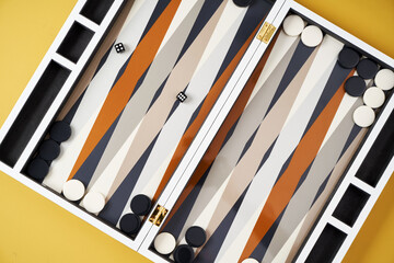Board game backgammon. Open backgammon game with dice