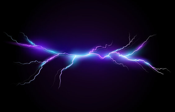 Vector illustration of a realistic style of bright glowing lightning isolated on a dark background, natural light effect. Magic white thunderstorm lightning, print, pattern