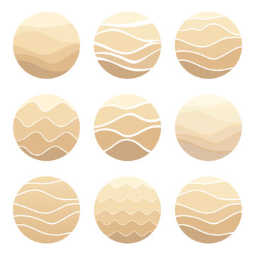 Sand, dunes, beach, desert abstract logo pattern of wavy lines in beige color. Logo template, icon, badge, pictogram for tourism, travel, hot places. Vector collection.