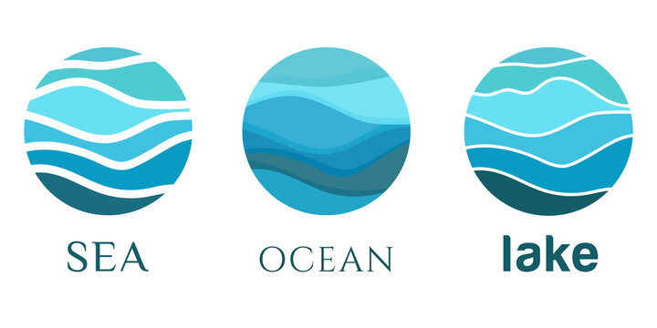 Sea waves, ocean, lake, river flow, water abstract vector pattern logo blue. Logo template, sticker, badge, icon, pictogram for tourism, voyage, cruise travel. Vector collection.