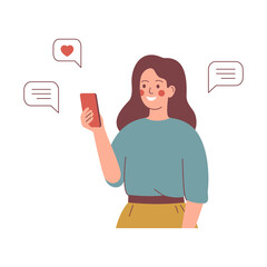 Smiling girl sends messages via smartphone. Young happy woman uses a mobile phone for texting. Mobile internet communication, social media chatting, instant messaging. Vector illustration.