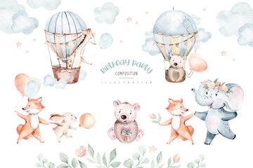 Photo sur Aluminium Echelle de hauteur Cute baby air balloon birthday party nursery watercolor fox, elephant bunny, crocodile, giraffe bear rabbit animal isolated illustration for children baby shower. Tropical jungle nursery posters