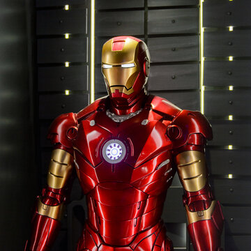 LAS VEGAS, NV, USA - SEP 20, 2017: Red and Yellow Iron Man costume at the Tony Stark base at the Avengers experience in Las Vegas.