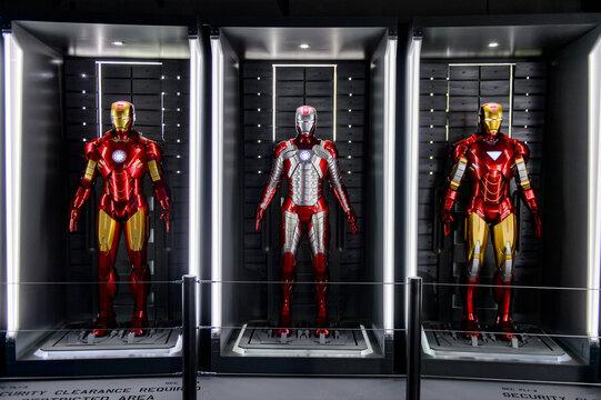 LAS VEGAS, NV, USA - SEP 20, 2017: Iron Man costumes at the Tony Stark base at the Avengers experience in Las Vegas.