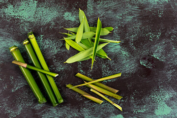 Green Bamboo stems isolated on the white background ,UNIQUE TASTE AND ASLO MEDICINAL VALUE