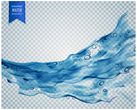 blue water splash wave with bubbles on transparent background