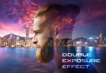 Double Exposure Photo Effect Mockup
