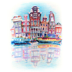 Colour pencil sketch of Amsterdam typical houses with their reflections in canal, Holland, Netherlands