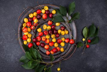 Fresh ripe red and yellow cherry