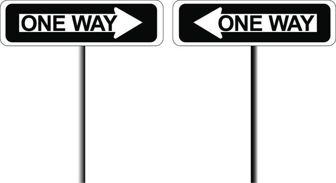 Two black and white one-way signs pointing different directions
