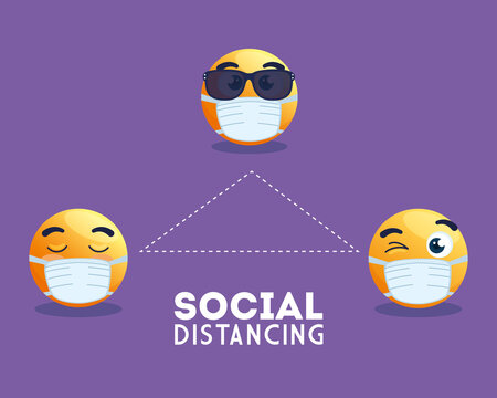 social distancing emoji wearing medical mask, yellow faces in public social distancing for covid 19 prevention vector illustration design