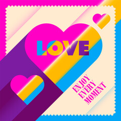 Colorful love sticker. Vector illustration.